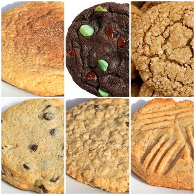 Big  Variety: Choco-Chip, Oatmeal, Snickerdooddle, Gingerbread, Mint,  Peanut Cookies