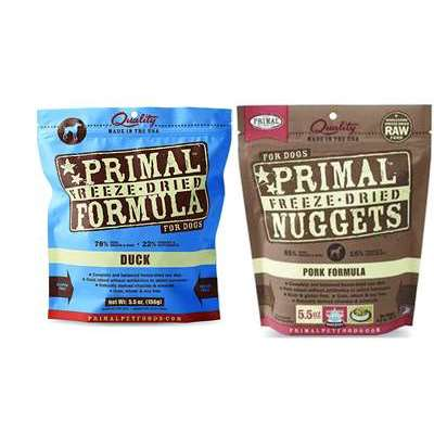 Primal 5.5 oz Freeze Dried Nuggets for Dogs Mixed 2 Packs – Pork and Duck