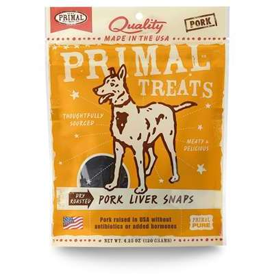 Primal Pet Foods Pork Liver Snaps Dog Treat, 4 Oz